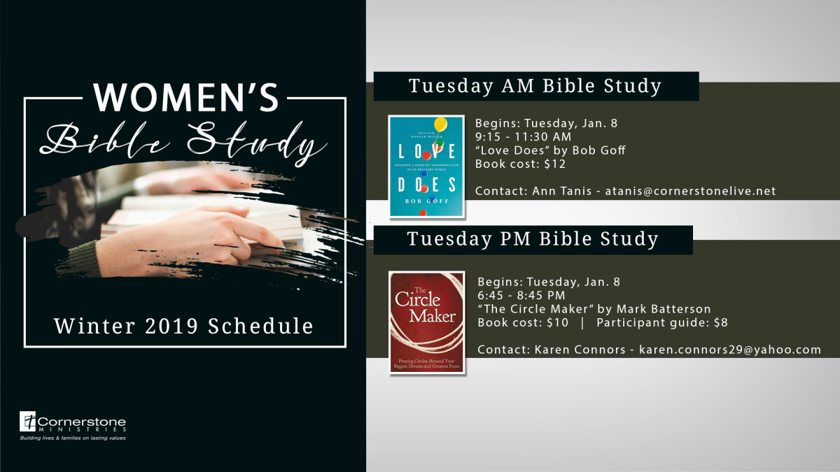 Women's Tuesday PM  Bible Studies, begin January 8, 2019